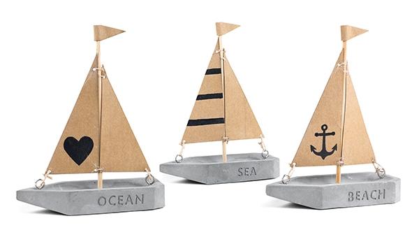 Segelboot Betonoptik 3er Set